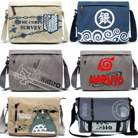 Canvas Bag Anime Sword Art Online Totoro Attack on Titan Naruto ONE PIECE Black Butler GINTAMA Shoulder Messenger Bag School Bag