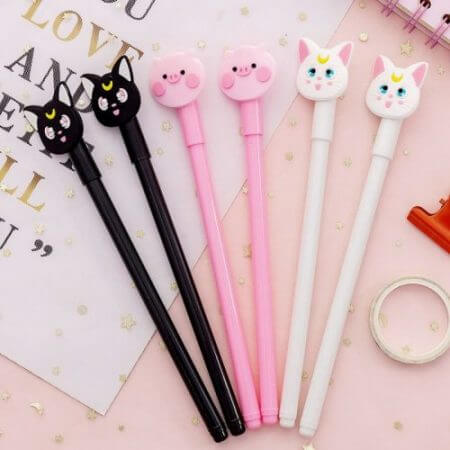 Anime Sailor Moon Luna Cat Cosplay Cute Cartoon Pink Pig Writing Painting Pens Tool Stationery Girl Student 0.5mm Gel Pen Props