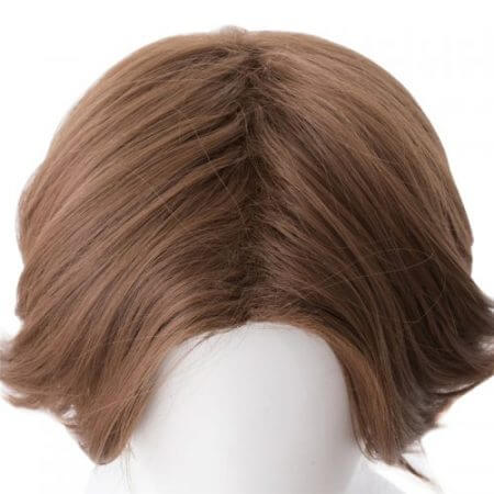 Overwatch Jesse Mccree Cosplay Wig 30cm Short Curly Heat Resistant Synthetic Hair Centre Parting OW Game Costume Party Wig Brown 5