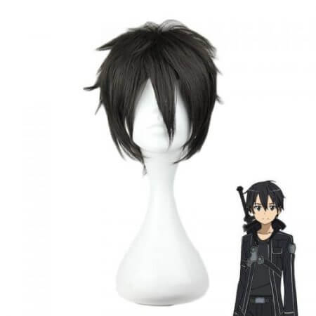 Sword Art Online Kirigaya Kazuto Wig SAO Kirito Short Black Heat Resistant Synthetic Hair Cosplay Wigs + Wig Cap
