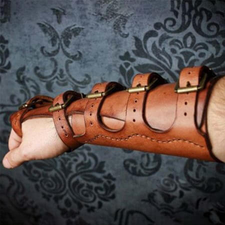 Adult Men Medieval Warrior Larp Knight leather Arm Bracer with Buckle Armor Rivet Steampunk Archer Gauntlet Cosplay Costume Gear 3