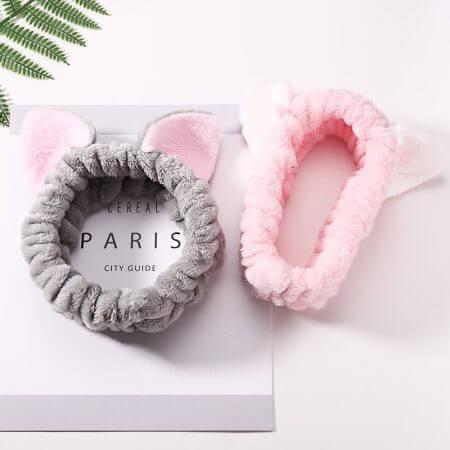 Women Girls Cute Coral Fleece Cat Ears Elastic Headbands Soft Comfortable Wash Face Bath Hairbands Photo Prop Hair Accessories 2
