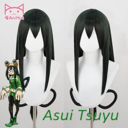AniHut Asui Tsuyu Wig Boku No Hero Academia Cosplay Wig Anime My Hero Academia Cosplay Hair Synthetic Green Wigs Asui Tsuyu