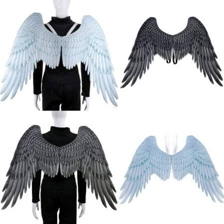 Halloween 3D Angel Wings Mardi Gras Theme Party Cosplay Wings For Children Adult Big Large Black Wings Devil Costume 3