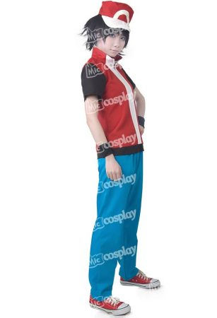 Anime Game Trainer Red Cosplay Costume With Hat And Wristguards Included - Ash Ketchum Cosplay Outfit 2