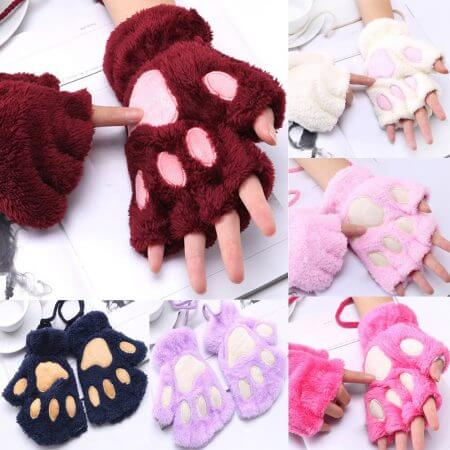 1 Pair Women Girls Lovely Fluffy Bear Cat Plush Paw Claw Half Finger Gloves Mitten Winter Warm Fingerless Gloves Xew 5