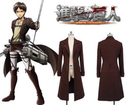 Attack on Titan Shingeki no Kyojin Eren Jaeger Rivaille Cosplay Costume Long Coat Jacket Cape