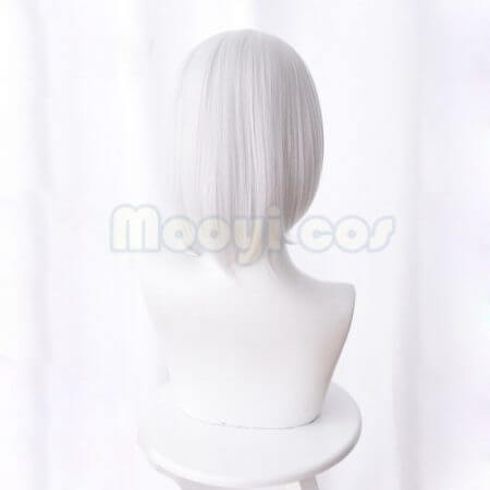 Overwatch Ashe Cosplay Wig 30cm Short Straight Heat Resistant Synthetic Hair OW Game Wig Silver-white Costume Party Wig 2