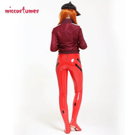 Asuka Langley Sohryu Cosplay Costume Red Bodysuit Jumpsuit Coat Jacket Hat Woman Outfit 4