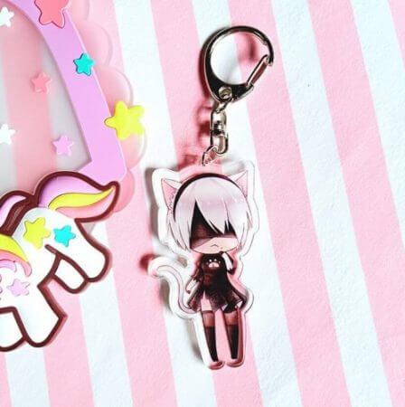 4 Pcs/lot Anime NieR Automata 2B acrylic Keychain keyring figure pendant toys gifts 3