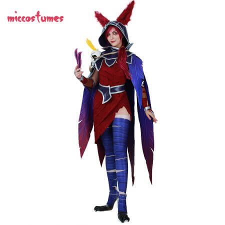 Xayah Cosplay Costume Woman The Rebel Halloween Outfit with Ears, Bird feet covers and Skull decoration 1