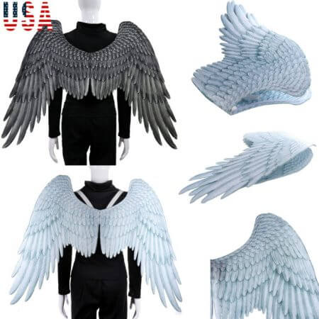 Halloween 3D Angel Wings Mardi Gras Theme Party Cosplay Wings For Children Adult Big Large Black Wings Devil Costume 1