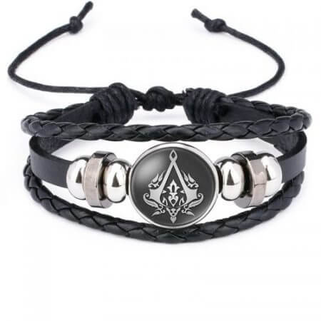 Fashion Assassins Creed Bracelet Time Gem Glass Weaving Leather Bangle Lace-up Generous Simple Jewelry Cute Gifts for Children 4