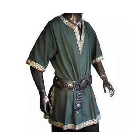 Adult Men Medieval Knight Warrior Costume Green Tunic Clothing Norman Chevalier Braid Viking Pirate Saxon LARP Top Shirt For Men 1