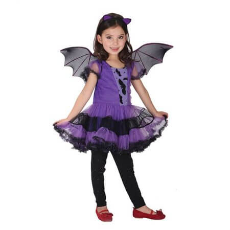 90-160cm Girls Halloween Purple Bat Vampire Princess Dress Wing Headband Cosplay Costume Kids Sets Scary Clown Witch Clothes 1