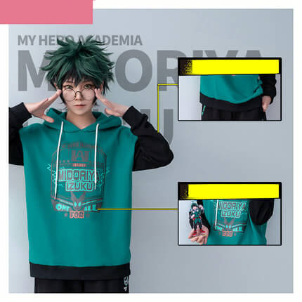 New My Hero Academia Boku no Hero Academia Cosplay Costumes Midoriya Izuku Teens College Cotton Hoodies Jackets Sweatshirts Top 2