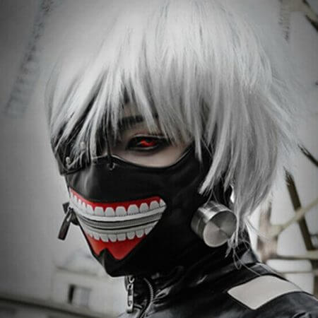 New Tokyo Ghoul Kaneki Ken Adjustable Zipper Faux Leather Mask Cosplay Halloween