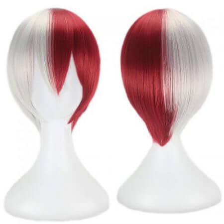 My Hero Academia Boku no Hiro Akademia Shoto Todoroki Shouto White And Red Head Costume Cosplay Wig Accessories 1
