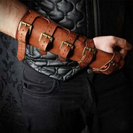 Adult Men Medieval Warrior Larp Knight leather Arm Bracer with Buckle Armor Rivet Steampunk Archer Gauntlet Cosplay Costume Gear 2