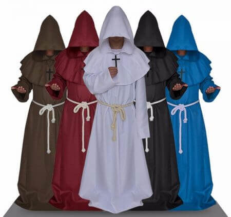 Monk Hooded Robes Cloak Cape Friar Medieval Renaissance Priest Men Robe Clothes Halloween Comic Con Party Cosplay Costume