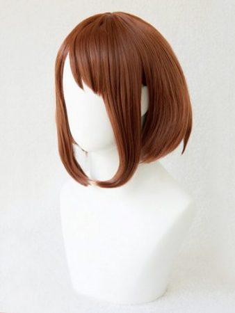 My Hero Academia Boku no Hiro Akademia Uraraka Ochako Short Brown Bobo Heat Resistant Cosplay Costume Wig + Free Wig Cap 1