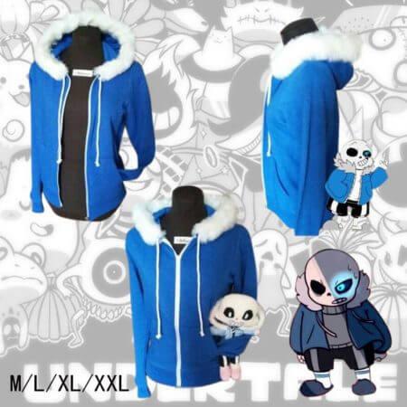 Sans Undertale Cosplay Hoodies Latex Mask FRESH SKELETON jacket sans plus velvet hooded zipper sweater animation game outfit 1