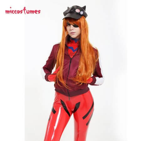 Asuka Langley Sohryu Cosplay Costume Red Bodysuit Jumpsuit Coat Jacket Hat Woman Outfit 1