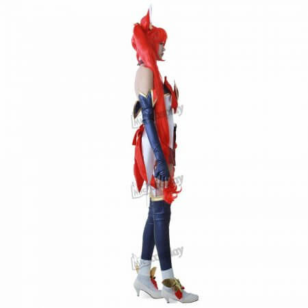 cos Jinx Cosplay Costume Women Red Shorts Headwear 2