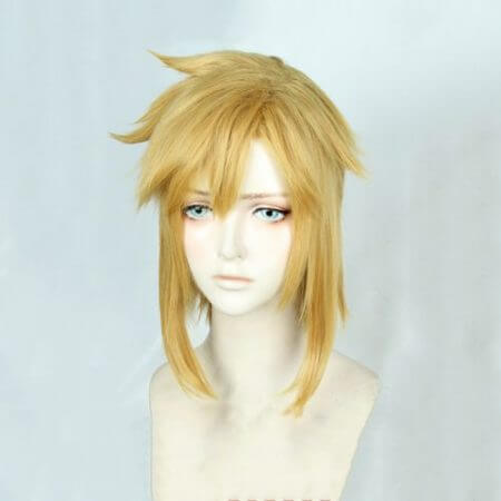 The Legend of Zelda: Breath of the Wild Link Short Golden Blonde Pony tail Hair Cosplay Costume Wig Heat Resistance Fibre + Ears 1
