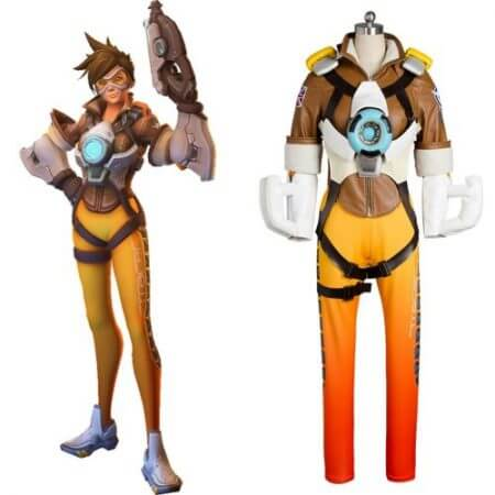 OW Game Hero Tracer Lena Oxton Cosplay Outift Video Game Cosplay Halloween Costumes For Female Girls Full Set Free Shipping