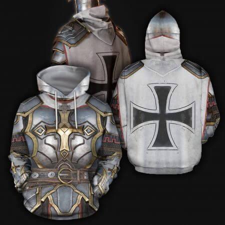 3D All Over Printed Knights Templar Tops Streetwear Hoodie Long Sleeve Pullover Custom Hoodie 2019 Hot Sale Drop Shipping 4