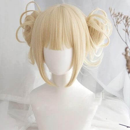Anime My Boku no Hero Academia Akademia Himiko Toga Short Light Blonde Ponytails Heat Resistant Cosplay Costume Wig+Cap 1