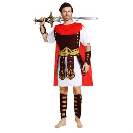 Umorden Halloween Purim Adult Ancient Roman Greek Warrior Gladiator Costume Knight Julius Caesar Costumes for Men Women Couple 1