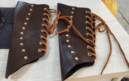 Adult Medieval Battle Warrior Larp Knight Arm Wrist Bandage Leather Armor Bracer Rivet Steampunk Archer Gauntlet Costume For Men 2