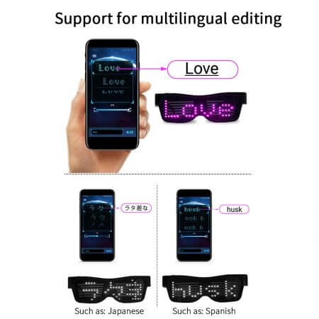 Magic Bluetooth Led Party Glasses APP Control Shield Luminous Glasses USB Charge DIY App Control Multi-lingual Quick Flash Led 1