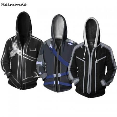 Anime Sword Art Online Hooded Sweater Cosplay Costume Kirigaya Kazuto Kirito Hoodies Sweatshirt Zipper Jacket Coat For Men Women