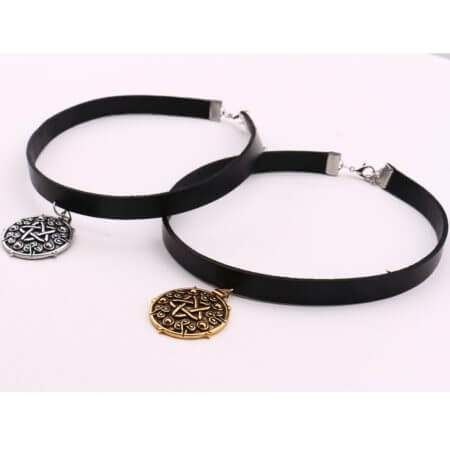Yennefer Medallion Pendant Black Leather Choker Necklace Wizard 3 Wild Hunt Game Cosplay Gothic Necklace Women Jewelry