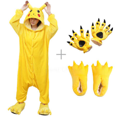 Kigurumi Unicorn Pajama Adult Animal Pikachu Onesie Women Men Couple 2019 Winter Pajamas Suit Stitch Sleepwear Flannel Pijamas
