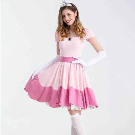 Deluxe Adult Princess Peach Costume Women Princess Peach Super Mario Bros Party Cosplay Costumes Halloween Costumes 1