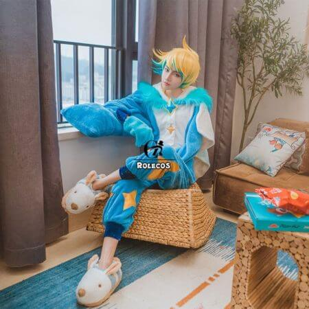 ROLECOS Game LOL Ezreal Cosplay Costume Pajama Star Guardian Ezreal Pajama Cosplay Costume for Men Jumpsuits Full Set 3