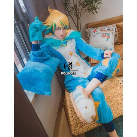 ROLECOS Game LOL Ezreal Cosplay Costume Pajama Star Guardian Ezreal Pajama Cosplay Costume for Men Jumpsuits Full Set 2