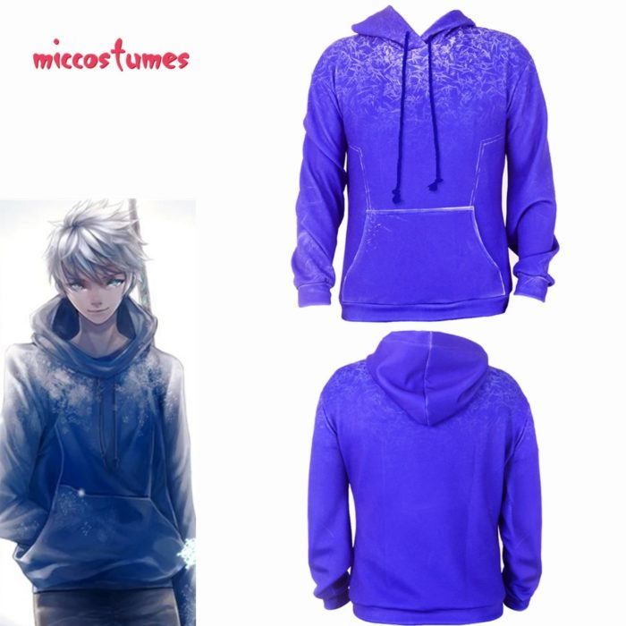 Jack Frost Hoodie Cosplay Costume Jacket Sweatshirt Men Halloween Outfit 1