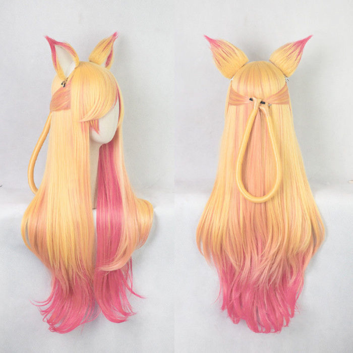 100cm LOL Ahri Gumiho Wigs Star Guardian the Nine Tailed Fox Cosplay Costume Wig + Wig Cap + Ears 2
