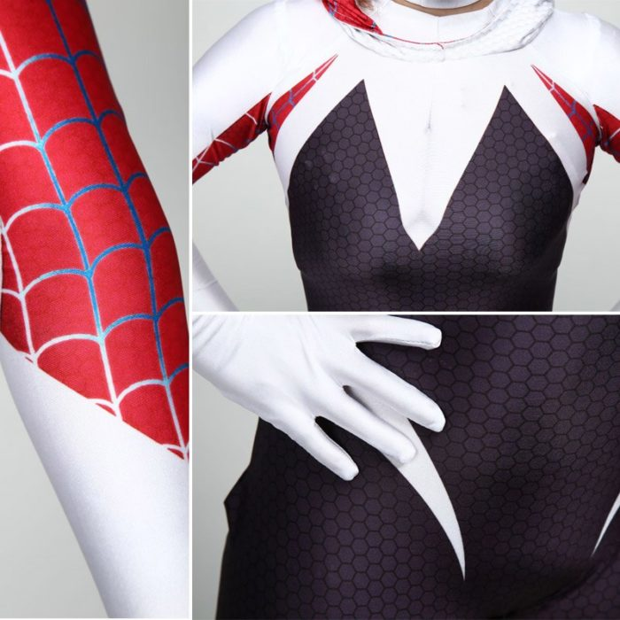 DIOCOS Spider Gwen Stacy Cosplay Costumes 3D Print Adult Kids Jumpsuits for Halloween Party 5