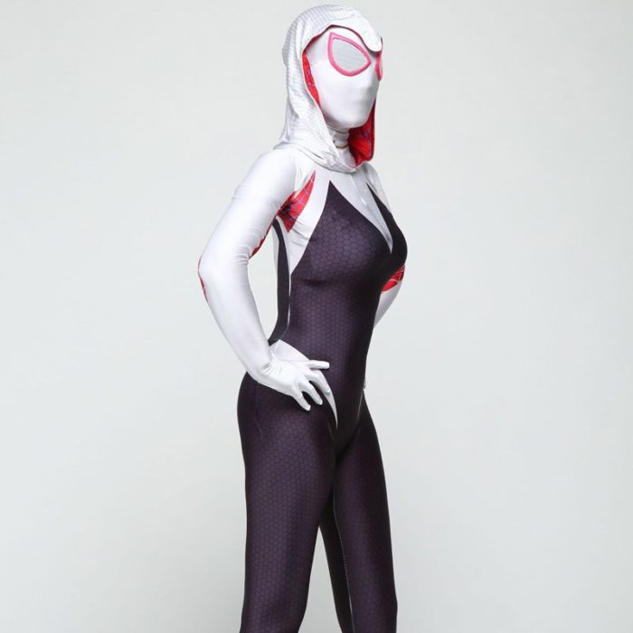 DIOCOS Spider Gwen Stacy Cosplay Costumes 3D Print Adult Kids Jumpsuits for Halloween Party 2