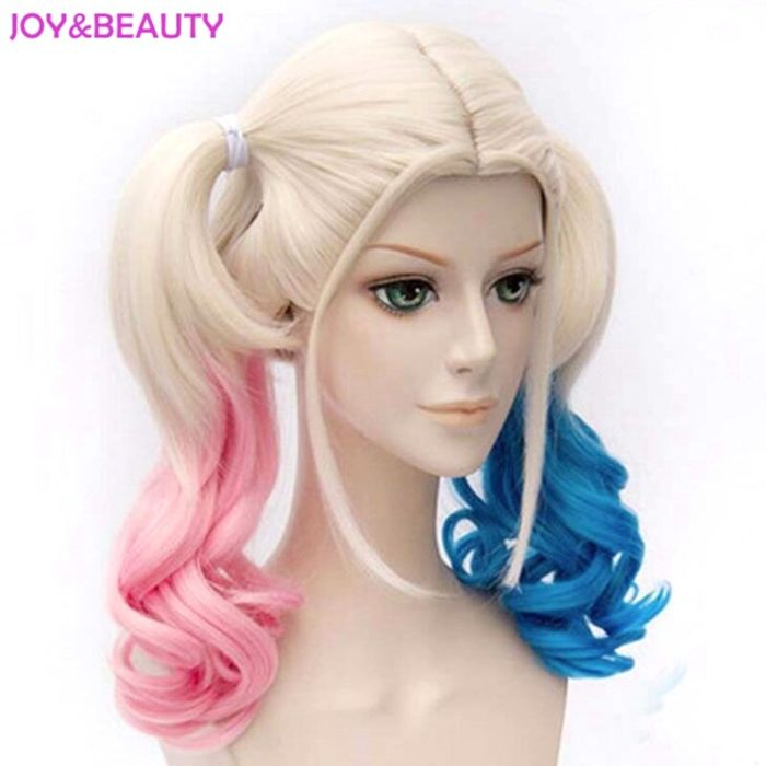 JOY&BEAUTY Hair Harley Quinn Cosplay Wig Styled Wavy Synthetic Ponytail Wig High Temperature Fiber Cos Wig Free Shipping 4
