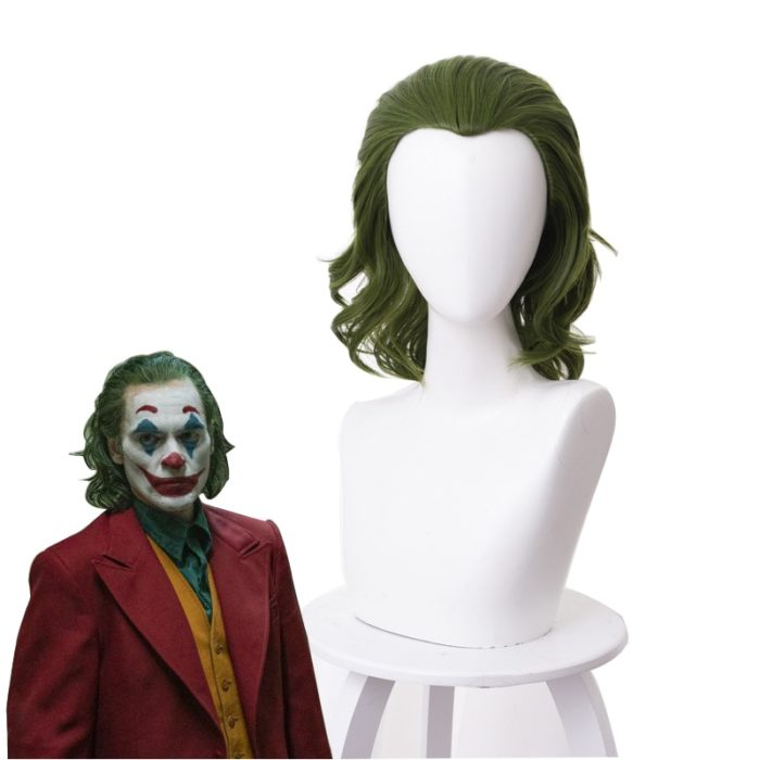 Joker Wig Movie Pennywise Joaquin Phoenix Arthur Fleck Clown Batman Cosplay Curly Green Synthetic Hair Wig with Free Wig Cap 1
