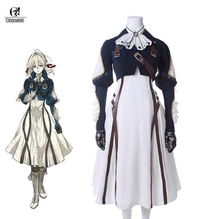 ROLECOS Violet Evergarden Cosplay Costume Anime Cosplay Violet Evergarden Costume for Women Halloween ( Top + Dress + Gloves ) 1