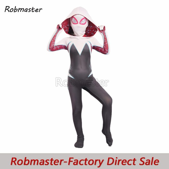 Kids Spider Gwen Spandex Zentai Gwen Costume for Halloween Girls Stacy Cosplay Spider Gwen Suit Anti-Venom Gwen Cloak Suit 1