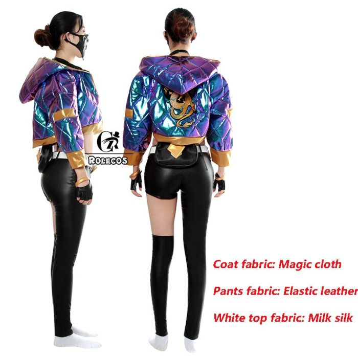 ROLECOS Game LOL KDA Akali Cosplay Costume Akali Cosplay Coat LOL KDA Cosplay Uniform Warm Winter Costume for Women 5